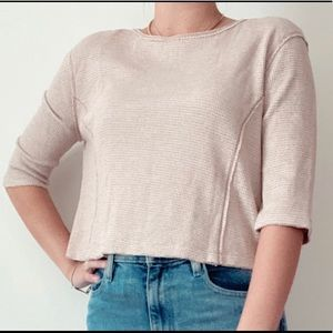 Free people cropped thermal quarter sleeve top